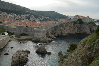 Photo: Looking at western walls of Dubrovnik walls