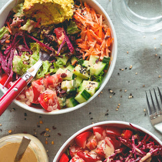 Black Rice Salad Bowl with Tahini Dressing