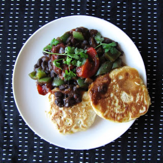 Corn Fritters with Black Bean Chill