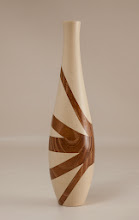 "Photo: Don Van Ryk  2"" x 7"" vase [holly, Osage orange]"