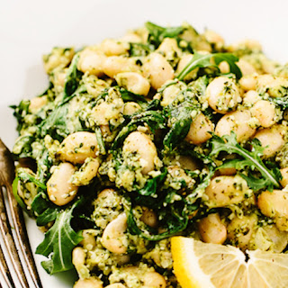 Lemony-Garlic White Bean Salad With Hemp Seed Pesto
