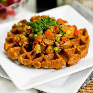 Chana Masala Waffles with Samosa Potatoes and Cilantro Mint Chutney.
