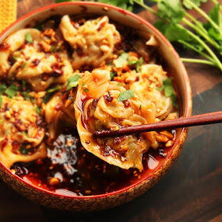 Sichuan-Style Wontons in Hot and Sour Vinegar and Chili Oil Sauce (Suanla Chaoshou)