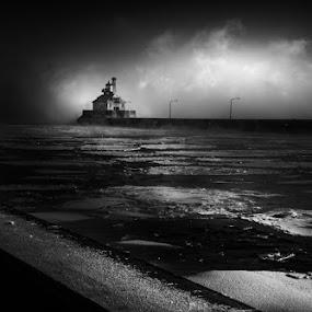 South Sanctum by Glen Sande - Black & White Landscapes ( mn, duluth, pentax a 50mm macro f2.8, winter, canal park, sea smoke, 2016, norfinlight, pentax k1, glen sande )
