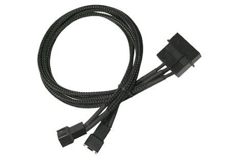 Forgrener, 4 pins drev til 2x3 pins vifte, lederstrømper, 30 cm, sort
