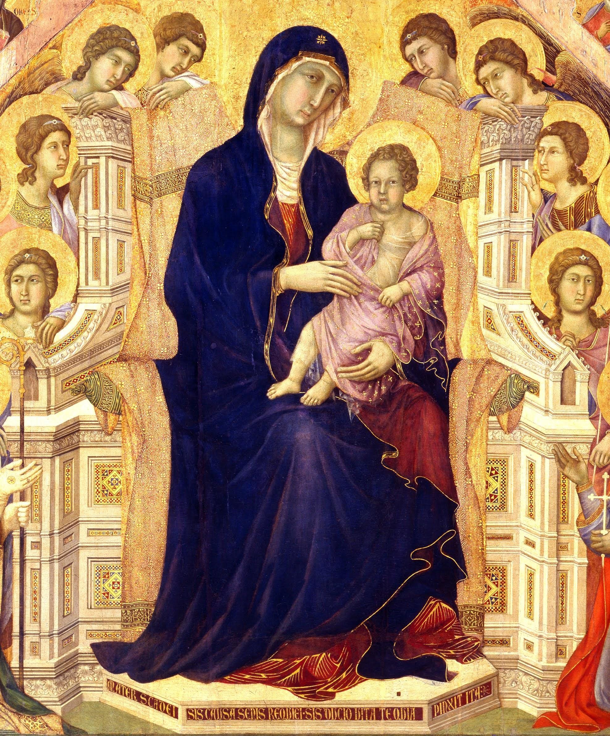 Duccio di Boninsegna, Maestà del Duomo di Siena (1308-1311) (Particolare della tavola principale, Vergine in trono), Museo dell'Opera della Metropolitana, Siena