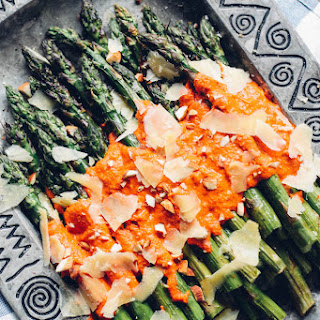 Grilled Asparagus with Romesco.