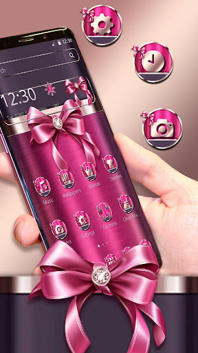 Screenshot for Pink Glisten Metal BowKnot Theme in United States Play Store