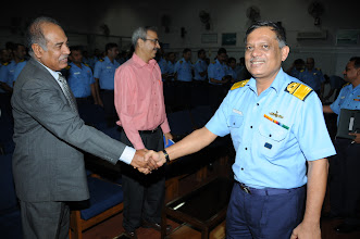Photo: Rear Admiral P. C. Lal, Chief Technical Officer Commanding, Western Naval Command, thanking Mr. Abraham Koshy, Head - Mumbai Chapter for successfully initiating CSI - WNC association for Knowledge Sharing.