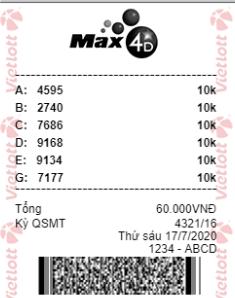 Vé dự thưởng MAX 4D