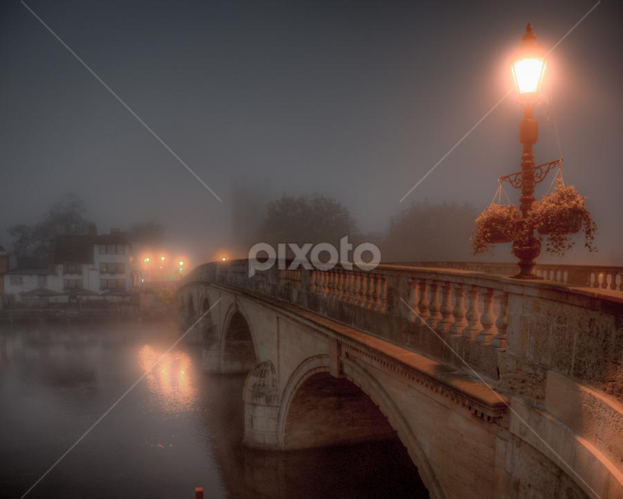 Bridge at Night by John Walton - City,  Street & Park  Night ( fog, heritagefocus, henley, bridge, mist )