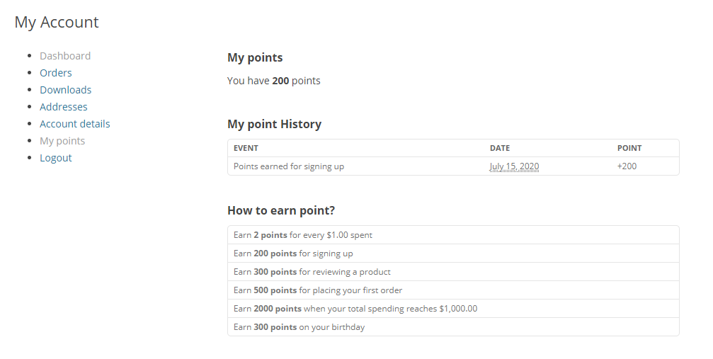 woocommerce points and rewards system
