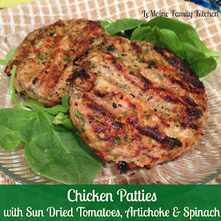 Chicken Patties with Sun Dried Tomatoes, Artichoke Hearts & Spinach.