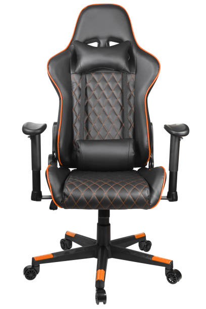 Gaming chair on white background Gaming chair for gamers isolated on white background. Computer gaming chair. Front view. Armchair for gaming entertainment. E-sport, tournament, championship gaming chair stock pictures, royalty-free photos & images