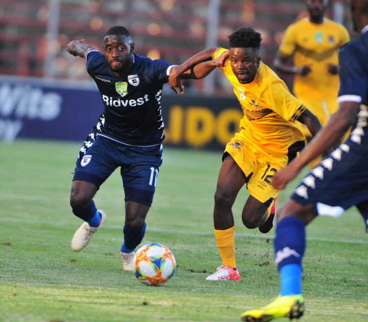 Deon Hotto of Bidvest Wits and Lesedi Kapinga of Black Leopards during the replayed Nedbank Cup, Last 16 match between Black Leopards and Bidvest Wits at Thohoyandou Stadium on February 18, 2019 in Thohoyandou, South Africa.