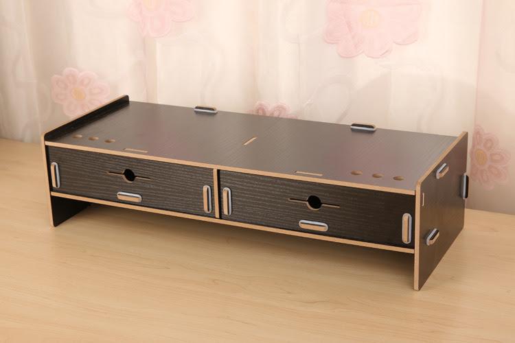 2 Drawer Monitor Riser Cabinet Wooden Diy Computer Desktop