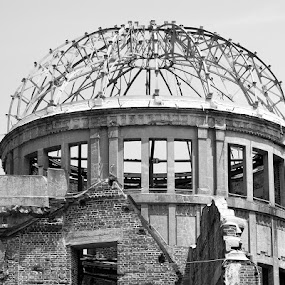 Hiroshima Never Forget! by Alan Cline - Black & White Buildings & Architecture ( atrocity, japan, nuclear, death, hiroshima, war )