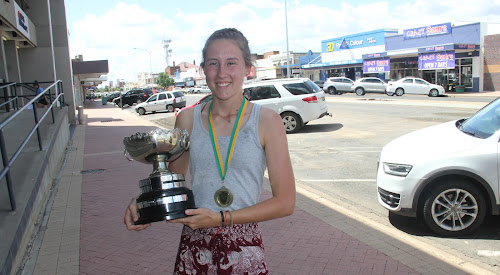 Bellata's Bella Stewart with The Courier Sportsperson of the Year Cup and sportsperson of the year medal, which the high-jumper won after an extremely successful year in 2017.