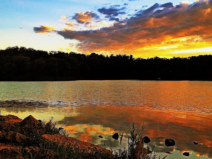by Lori Taylor - Instagram & Mobile iPhone ( clouds, water, reflection, sunset, rocks )