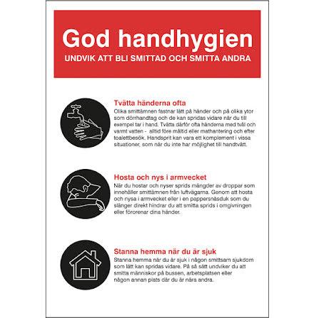 Skylt God Handhygien A5 plast