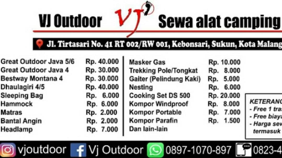 Vj Outdoor Sewa Alat Camping Layanan Sewa Alat Camping Di Kota Malang