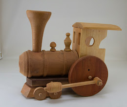 "Photo: Bob Grudberg 6""x 12"" Train [cherry, oak, other assorted woods]"