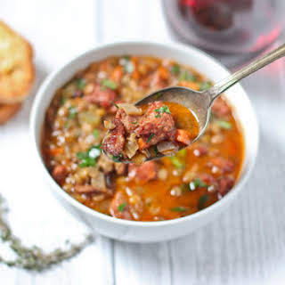 Smoked Sausage and Lentil Soup.