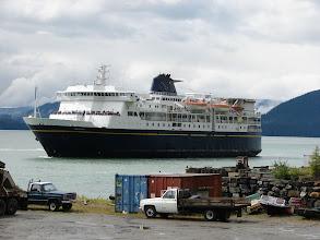 Photo: An Alaska Ferry pulls into dock in Wrangell.