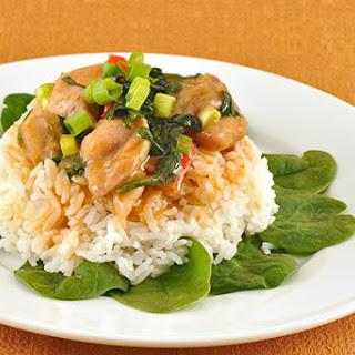 Thai Peanut Curry Pork with Spinach (Praram).