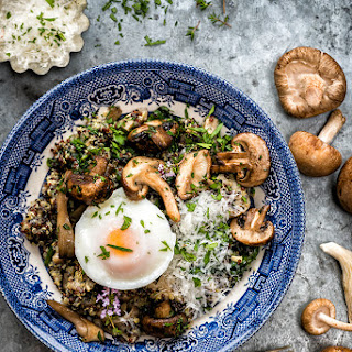 Vegetarian Mushroom, Spinach And Quinoa Risotto With Oven-poached Eggs.