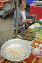 Photo: More exotic fare at Vang Vieng's market. Grubs are bamboo worms (great after being fried up) and rice field mice.