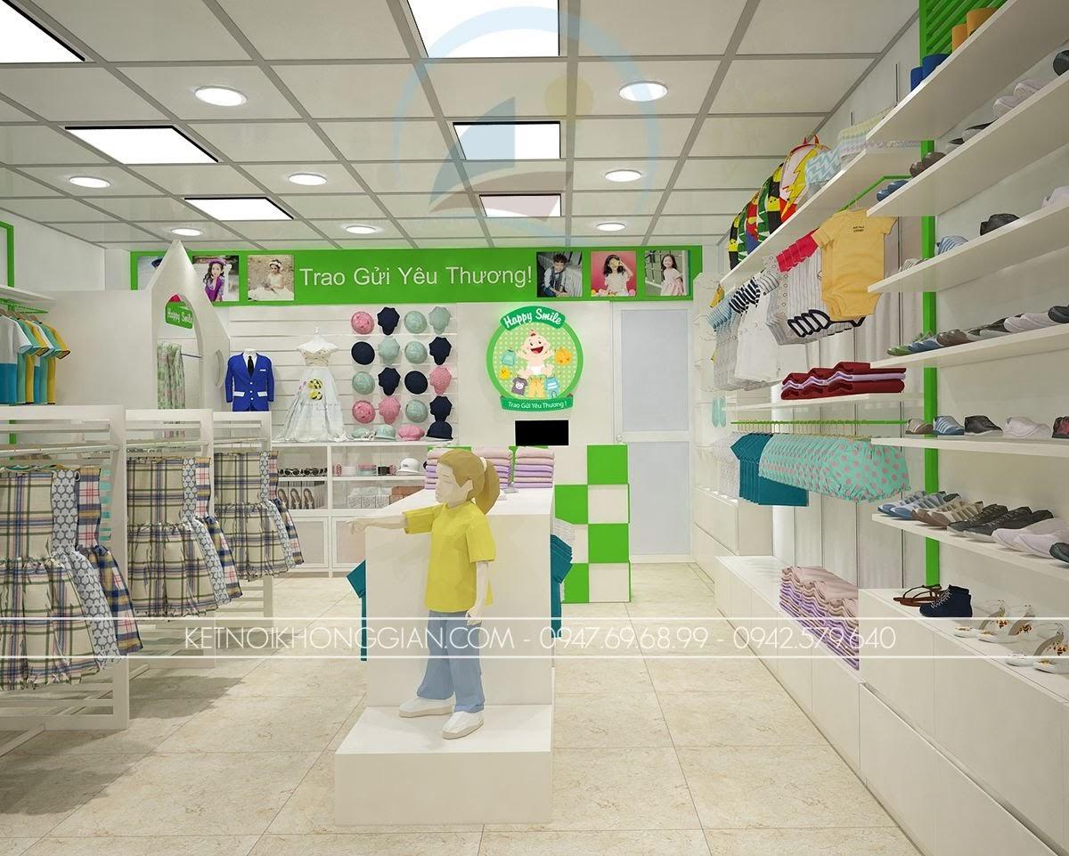 thiết kế shop thời trang trẻ em thoáng rộng