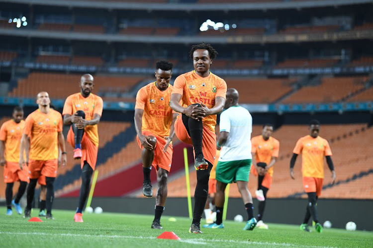Percy Tau and teammates during the South African national mens soccer team training session at FNB Stadium on March 23, 2021 in Johannesburg, South Africa.
