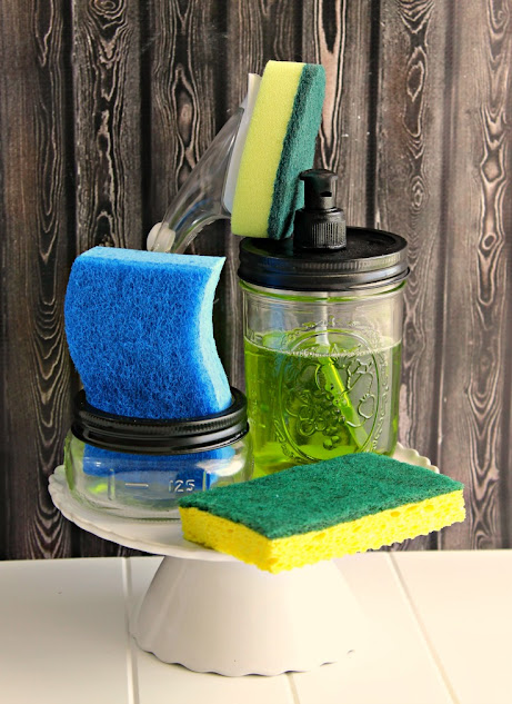 Make a cute matching DIY kitchen set that includes a mason jar sponge holder and mason jar soap dispenser