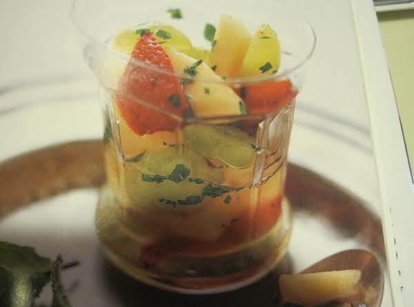 Cantaloupe,strawberries And Grapes W/white Wine And Mint Recipe