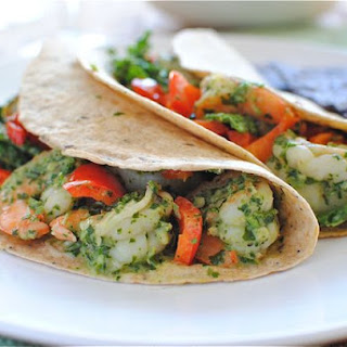 Shrimp and Cabbage Tacos with a Cilantro Yogurt Sauce