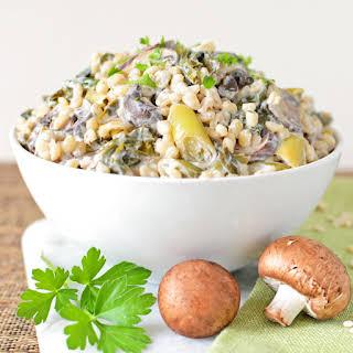 Hungarian, Mushroom, Leek and Kale Pilaf.