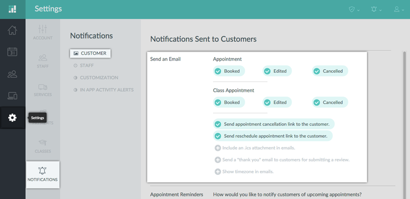 To enable customer appointment notifications, navigate to Settings, Notifications, and Customer in your Setmore account.