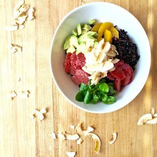 Healthy Black Rice Bowl with Avocado, Citrus, and Coconut Recipe