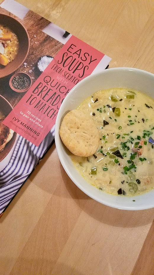 Easy Soups from Scratch with Quick Breads to Match by Ivy Manning, Smoked Salmon and Celery Root Chowder with Pilot Biscuits
