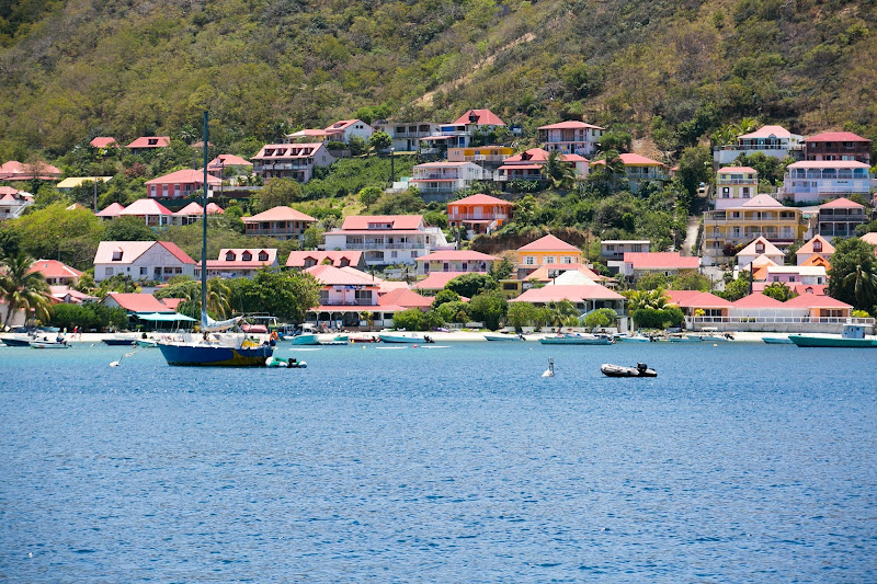 The pretty, classic waterfront of Les Saintes Bay, Guadeloupe.