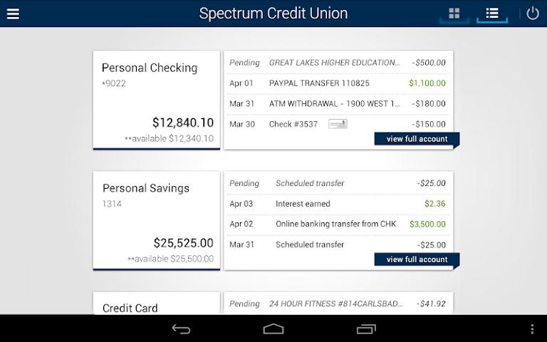 android Spectrum CU Mobile Banking Screenshot 5