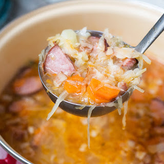 Polish Sauerkraut Soup with Sausage - Kapusniak