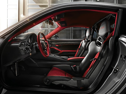 Ultra lightweight bucket seats come standard in the Porsche GT2 RS; Sports Plus seats are an optional extra.