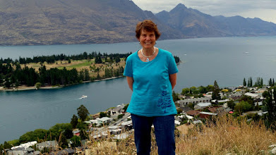 "Photo: Behind me is Lake Wakatipu and the gorgeous 6000' mountains called ""The Remarkables"".  This valley was formed by glacial action."