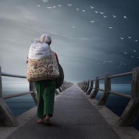 crossing the bridge by Budi Cc-line - Digital Art People ( indonesia )