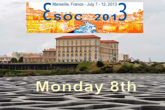 Photo: yesterday, first full day of esoc : the oral presentations (plenary, invited, communications) are in order of the schedule. the afternoon break, our sponsors in the exhibition area and the lecturers diner on the Vieux Port and Notre Dame de la Garde. enjoy !!! -- jacques