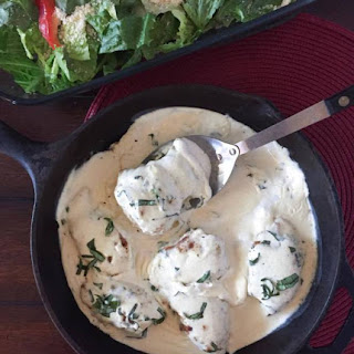 Creamy Basil Chicken Thighs {THM-S, Low Carb}.