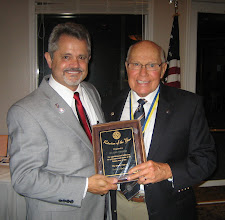 "Photo: President Dennis Robinson presenting  the ""Rotarian Of The Year"" Award to Blaine Timmer! - June 8, 2012"
