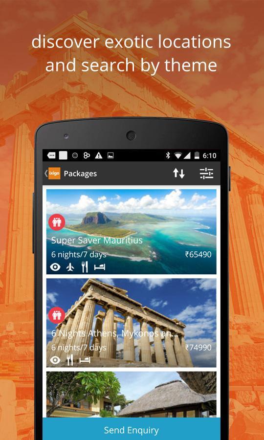 ixigo flights hotels packages- screenshot